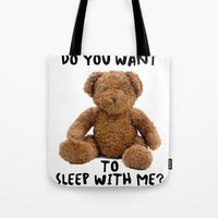teddy bear Tote Bags featuring teddy bear by ulas okuyucu