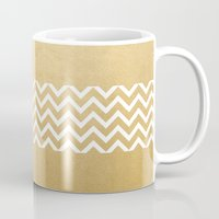 gold foil Mugs featuring Gold Foil With White Chevron  by Joel M Young