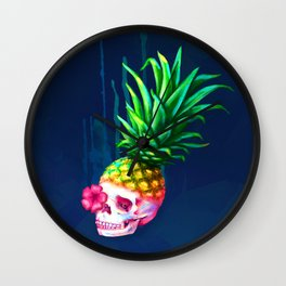 Pineapple Skull Wall Clock