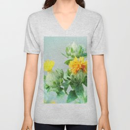 Yellow Safflower (Carthamus Tinctorius Yellow)  Unisex V-Neck
