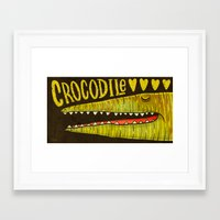 crocodile Framed Art Prints featuring Crocodile by Lime