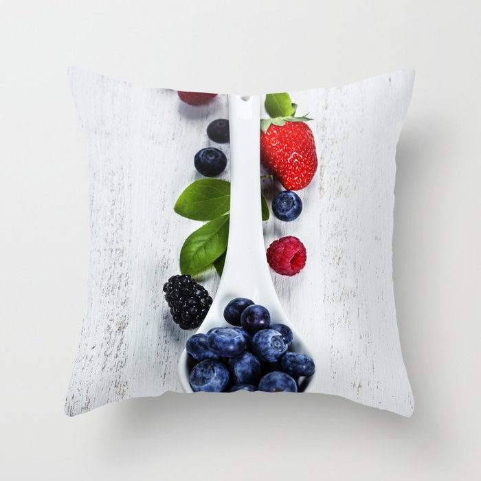 Berries with spoon Throw Pillow