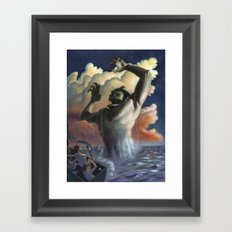 Suddenly the beast arose from the waters, Framed Art Print