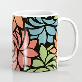 Stylized Dahlia Pattern Coffee Mug