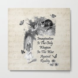 Alice In Wonderland Quote - Imagination Metal Print