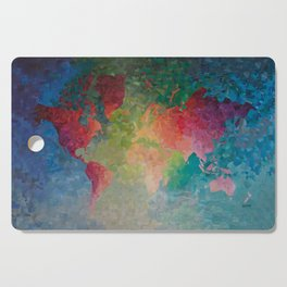 Recycled Color World Map Cutting Board