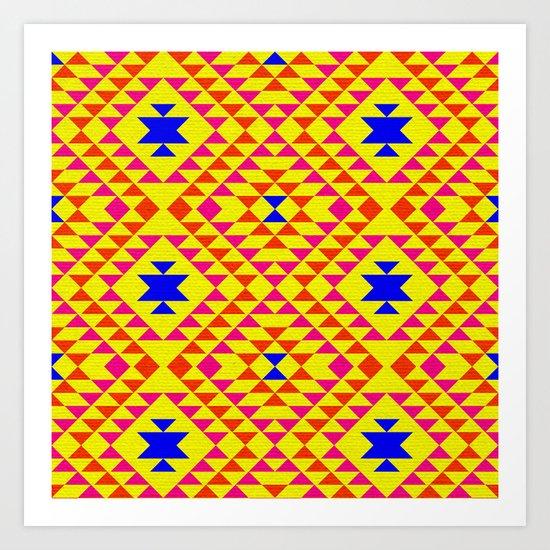 Tribal geometric pattern - yellow Art Print