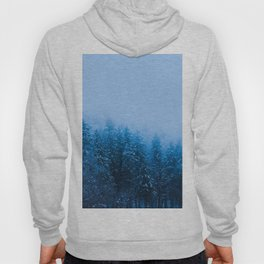 Fog over snow covered forest at lake Bohinj, Slovenia Hoody