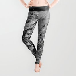 Running hand through the water, under the blue again black and white photograph / art photography Leggings