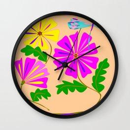 Three Summer Flowers with a Damselfly Wall Clock