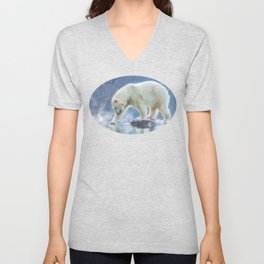A polar bear at the water Unisex V-Neck