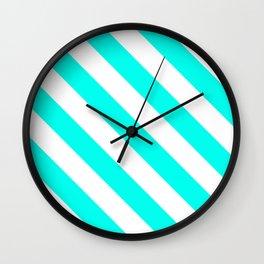 Diagonal Stripes Pattern: Turquoise Wall Clock