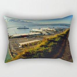Dover Docks from the White Cliffs Rectangular Pillow