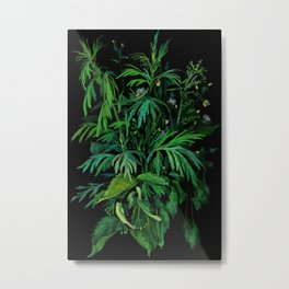 """Green & Black"", floral art, summer greenery, pastel painting Metal Print"