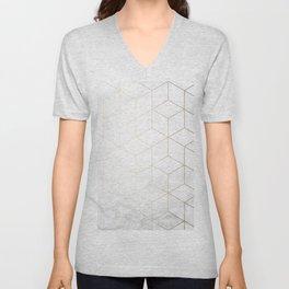 Gold Geometric White Mable Cubes Unisex V-Neck