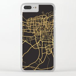 TEHRAN IRAN GOLD ON BLACK CITY MAP Clear iPhone Case