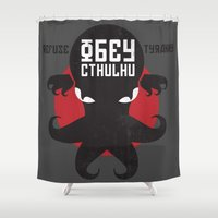 obey Shower Curtains featuring Refuse Tyranny, Obey Cthulhu by Retro Review