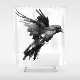 Flying Raven. tribal raven lover black and white raven decor Shower Curtain