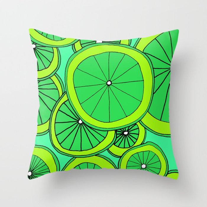Summer Limes Citrus Art Throw Pillow