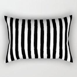 Black and White Cabana Stripes Palm Beach Preppy Rectangular Pillow
