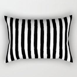 Black and White Cabana Stripes Palm Beach Preppy Rectangular Pillow