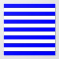 stripes Canvas Prints featuring Horizontal Stripes (Blue/White) by 10813 Apparel
