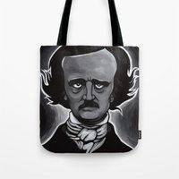 edgar allen poe Tote Bags featuring Edgar by Paul Brogden