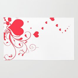 Red Valentine Hearts on A White Background Rug