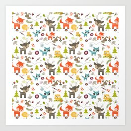 Cute Woodland Creatures Pattern Art Print