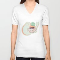 chill V-neck T-shirts featuring Chill by Brocoli ArtPrint