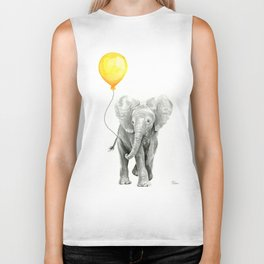 Elephant Watercolor Yellow Balloon Whimsical Baby Animals Biker Tank