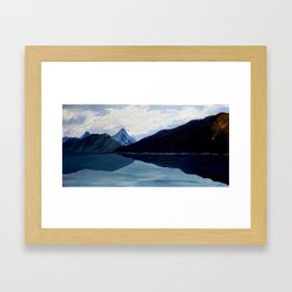 In synergy of sky, clouds, mountains and lake Framed Art Print