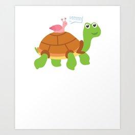 Cute Snail Riding Turtle Animal Friends Art Print