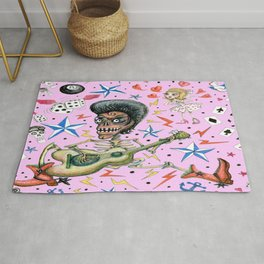 rockabilly bone daddy crush, pink blush orchid lilac rose Rug