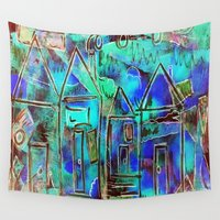 marc Wall Tapestries featuring Neon Blue Houses by BeachStudio