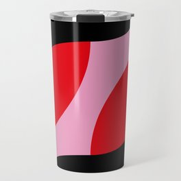 A clear, PINK background. Two shrimps probably swimming around it. Graphic shrimps... Travel Mug