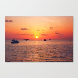 Sunset over The Maldives Canvas Print