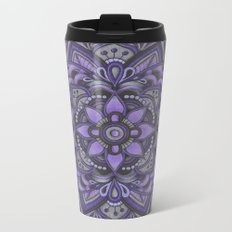 Purple and Black Flower Metal Travel Mug