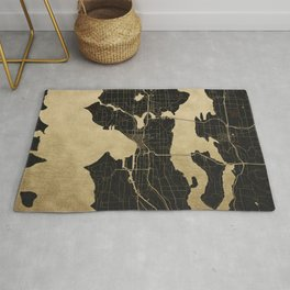 Seattle Black and Gold Map Rug