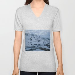 italy alps mountain snow camping vanlife village drone aerial roadtrip frozen landscape pass Unisex V-Neck
