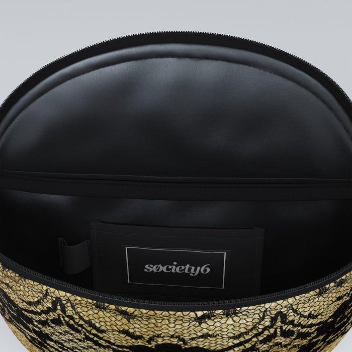 Black floral elegant lace on gold metal background Fanny Pack