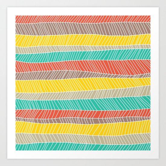 Beach Stripe (warm) Art Print