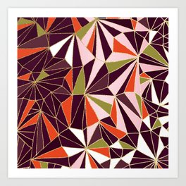 New Art Deco Geometric Pattern - Burgundi and Pink #deco #buyart Art Print