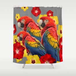 TROPICAL FLORAL MACAWS & RED YELLOW HIBISCUS FLOWERS Shower Curtain
