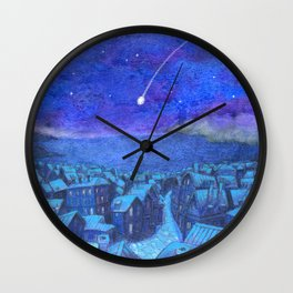 A shooting star and streets Wall Clock