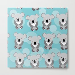 koala Seamless pattern with funny cute animal on a blue background Metal Print