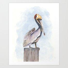 Pelican on a Perch Watercolor Art by Liz Ligeti Kepler Art Print