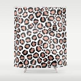 Modern Chic Black Rose Gold Foil Leopard Print Shower Curtain