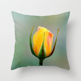 Single Yellow Rose Bud Throw Pillow