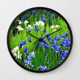 BLUE & WHITE  IRIS FLOWER GARDEN Wall Clock